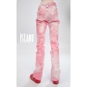 Pink tie-dye jeans