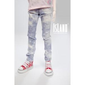 Blue tie-dye jeans